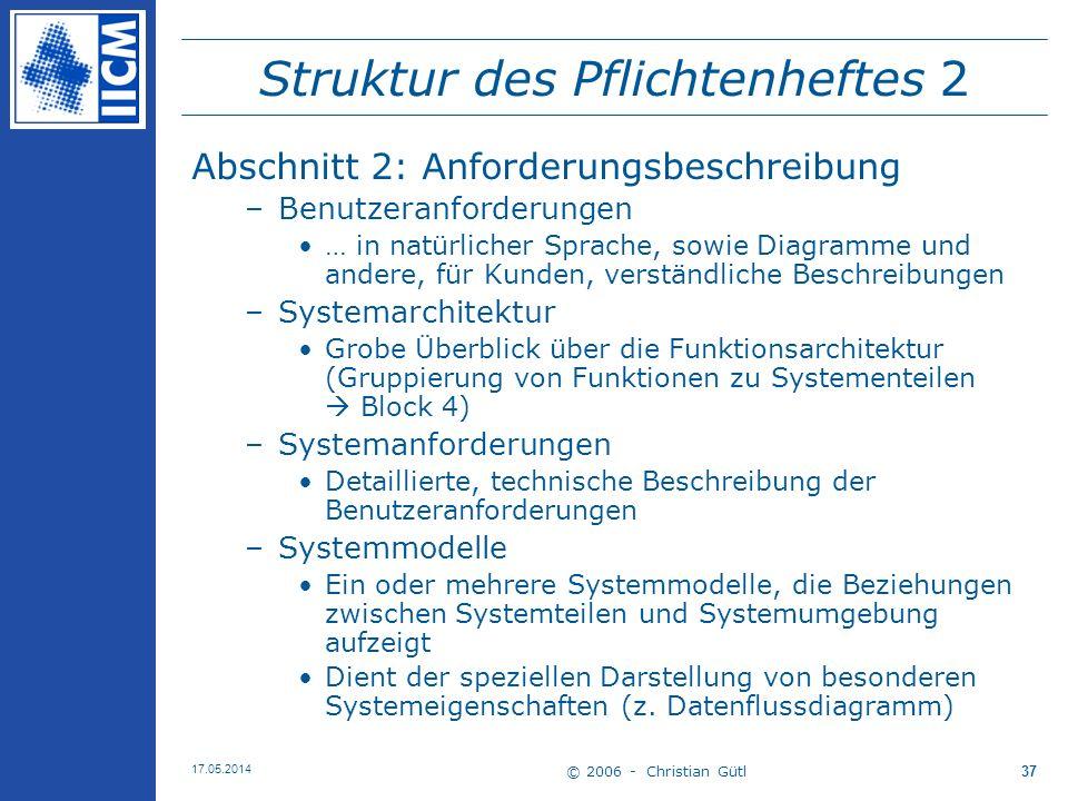 © 2006 - Christian Gütl 17.05.2014 37 Struktur des Pflichtenheftes 2 Abschnitt 2: Anforderungsbeschreibung –Benutzeranforderungen … in natürlicher Spr