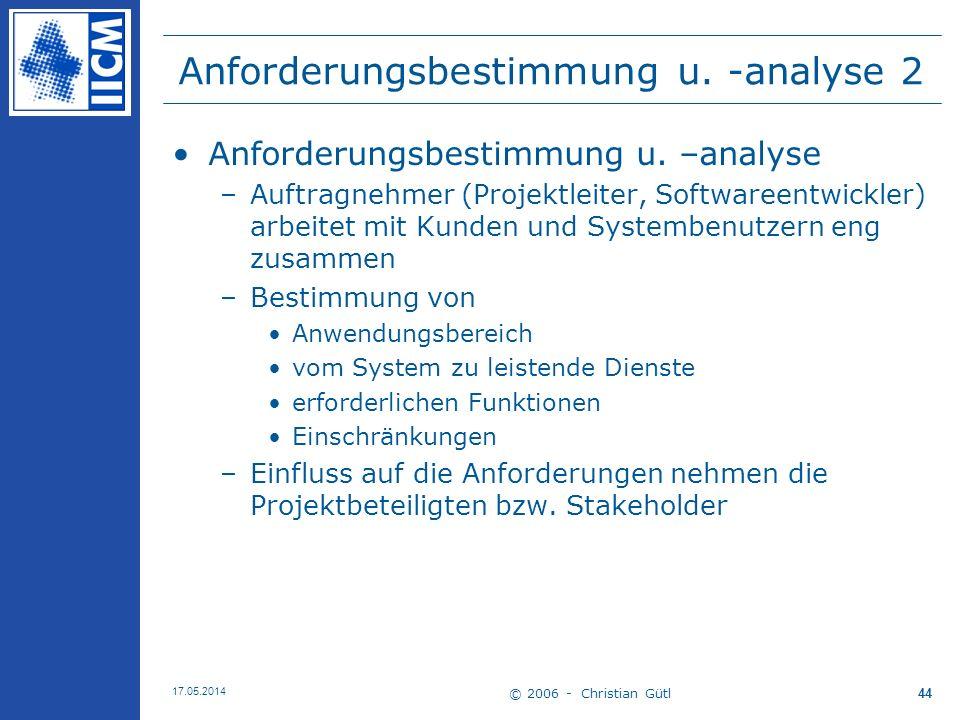 © 2006 - Christian Gütl 17.05.2014 44 Anforderungsbestimmung u. -analyse 2 Anforderungsbestimmung u. –analyse –Auftragnehmer (Projektleiter, Softwaree