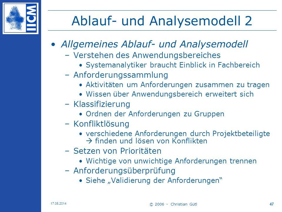 © 2006 - Christian Gütl 17.05.2014 47 Ablauf- und Analysemodell 2 Allgemeines Ablauf- und Analysemodell –Verstehen des Anwendungsbereiches Systemanaly