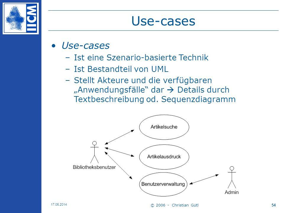 © 2006 - Christian Gütl 17.05.2014 54 Use-cases –Ist eine Szenario-basierte Technik –Ist Bestandteil von UML –Stellt Akteure und die verfügbaren Anwen