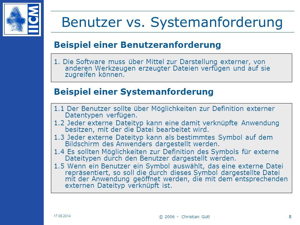 © 2006 - Christian Gütl 17.05.2014 19 Benutzeranforderungen 1 Benutzeranforderungen –Abstrakt, für Nichttechniker verständlich Auch für den Systembenutzer verständlich –Aussagen in natürlicher Sprache –Ggf.