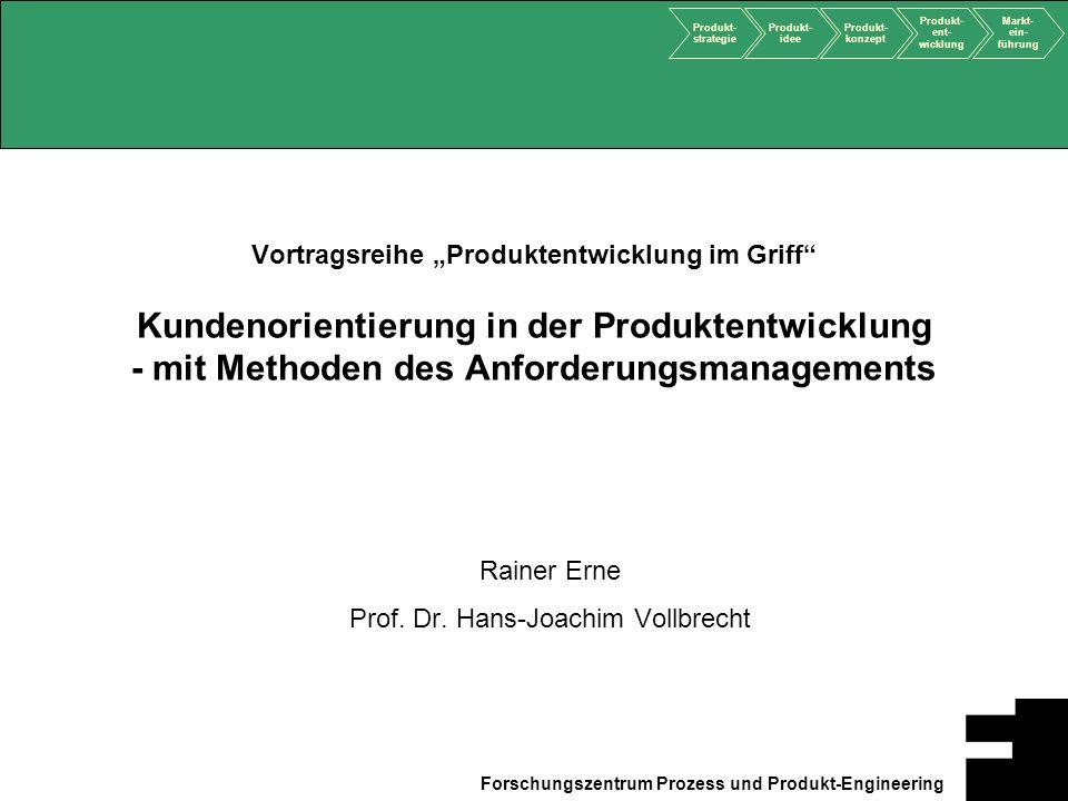 Produkt- strategie Produkt- idee Produkt- konzept Produkt- ent- wicklung Markt- ein- führung Forschungszentrum Prozess und Produkt-Engineering Vortrag