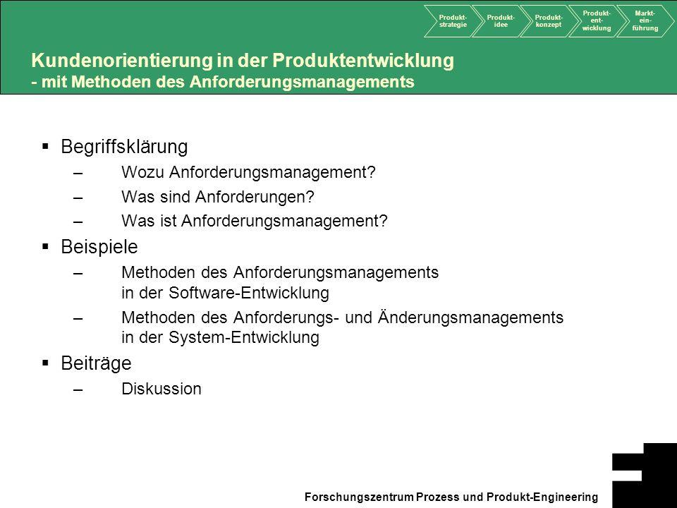 Produkt- strategie Produkt- idee Produkt- konzept Produkt- ent- wicklung Markt- ein- führung Forschungszentrum Prozess und Produkt-Engineering Kundeno
