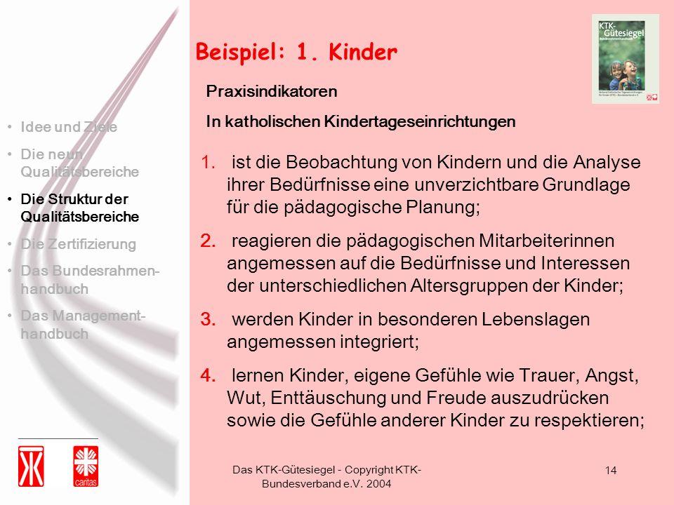Das KTK-Gütesiegel - Copyright KTK- Bundesverband e.V. 2004 14 Beispiel: 1. Kinder 1. ist die Beobachtung von Kindern und die Analyse ihrer Bedürfniss