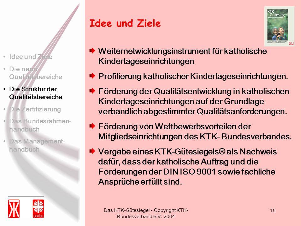 Das KTK-Gütesiegel - Copyright KTK- Bundesverband e.V. 2004 15 Weiternetwicklungsinstrument für katholische Kindertageseinrichtungen Profilierung kath