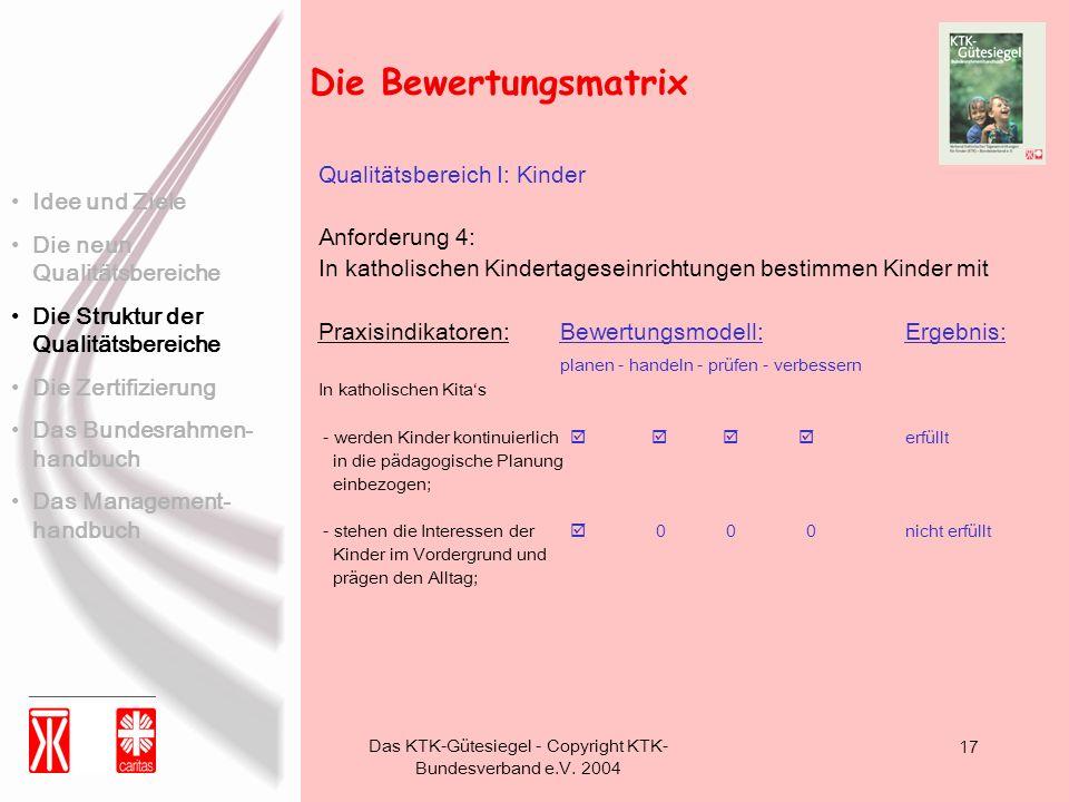 Das KTK-Gütesiegel - Copyright KTK- Bundesverband e.V. 2004 17 Die Bewertungsmatrix Idee und Ziele Die neun Qualitätsbereiche Die Struktur der Qualitä