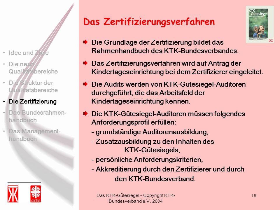 Das KTK-Gütesiegel - Copyright KTK- Bundesverband e.V. 2004 19 Die Grundlage der Zertifizierung bildet das Rahmenhandbuch des KTK-Bundesverbandes. Das