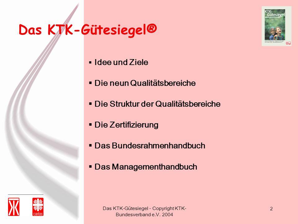 Das KTK-Gütesiegel - Copyright KTK- Bundesverband e.V. 2004 2 Idee und Ziele Die neun Qualitätsbereiche Die Struktur der Qualitätsbereiche Die Zertifi