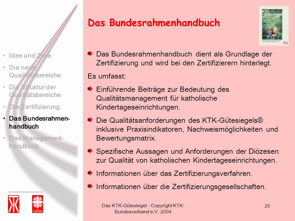 Das KTK-Gütesiegel - Copyright KTK- Bundesverband e.V. 2004 20 Das Bundesrahmenhandbuch dient als Grundlage der Zertifizierung und wird bei den Zertif