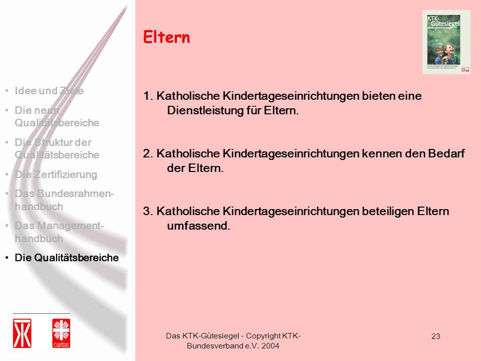 Das KTK-Gütesiegel - Copyright KTK- Bundesverband e.V. 2004 23 1. Katholische Kindertageseinrichtungen bieten eine Dienstleistung für Eltern. 2. Katho
