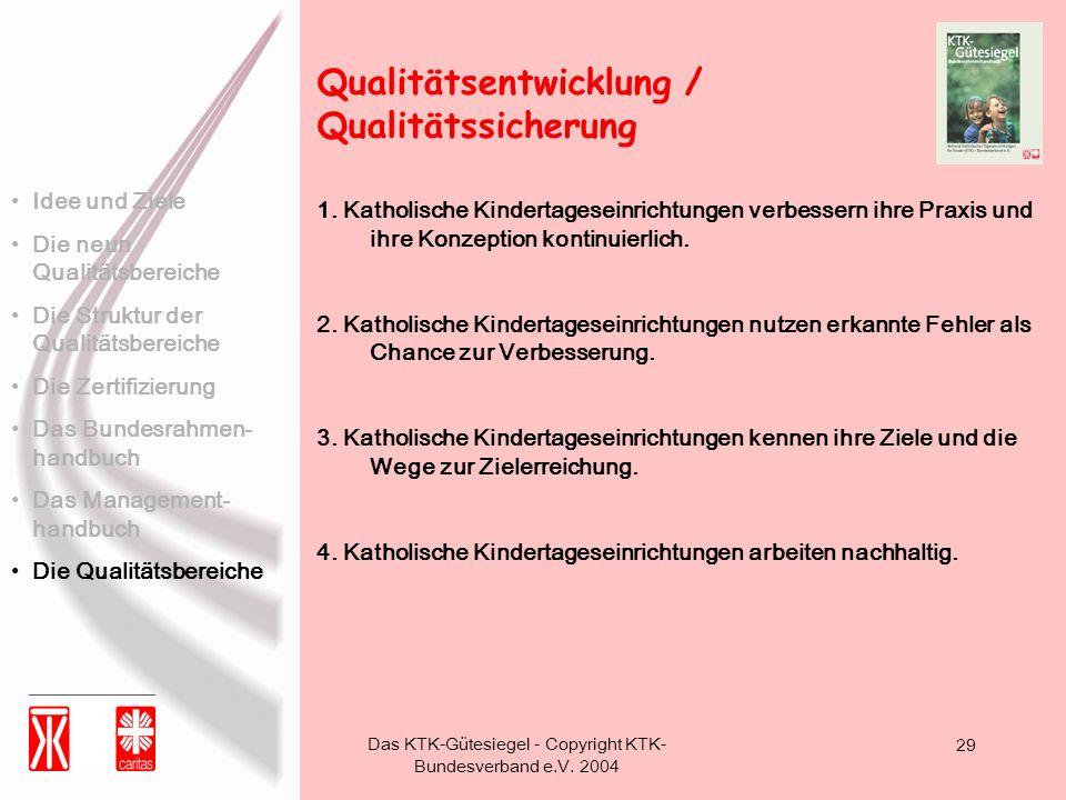 Das KTK-Gütesiegel - Copyright KTK- Bundesverband e.V. 2004 29 1. Katholische Kindertageseinrichtungen verbessern ihre Praxis und ihre Konzeption kont