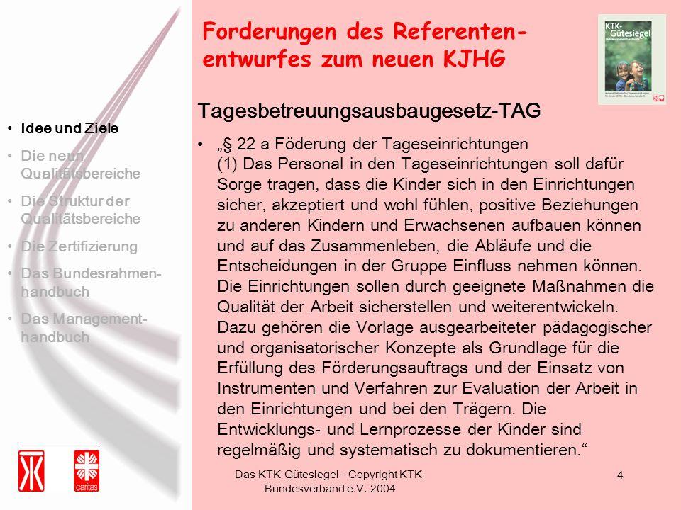 Das KTK-Gütesiegel - Copyright KTK- Bundesverband e.V. 2004 4 Tagesbetreuungsausbaugesetz-TAG § 22 a Föderung der Tageseinrichtungen (1) Das Personal