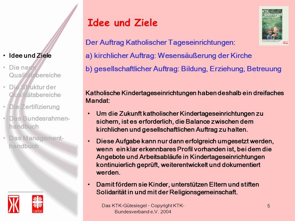 Das KTK-Gütesiegel - Copyright KTK- Bundesverband e.V. 2004 5 Der Auftrag Katholischer Tageseinrichtungen: a) kirchlicher Auftrag: Wesensäußerung der