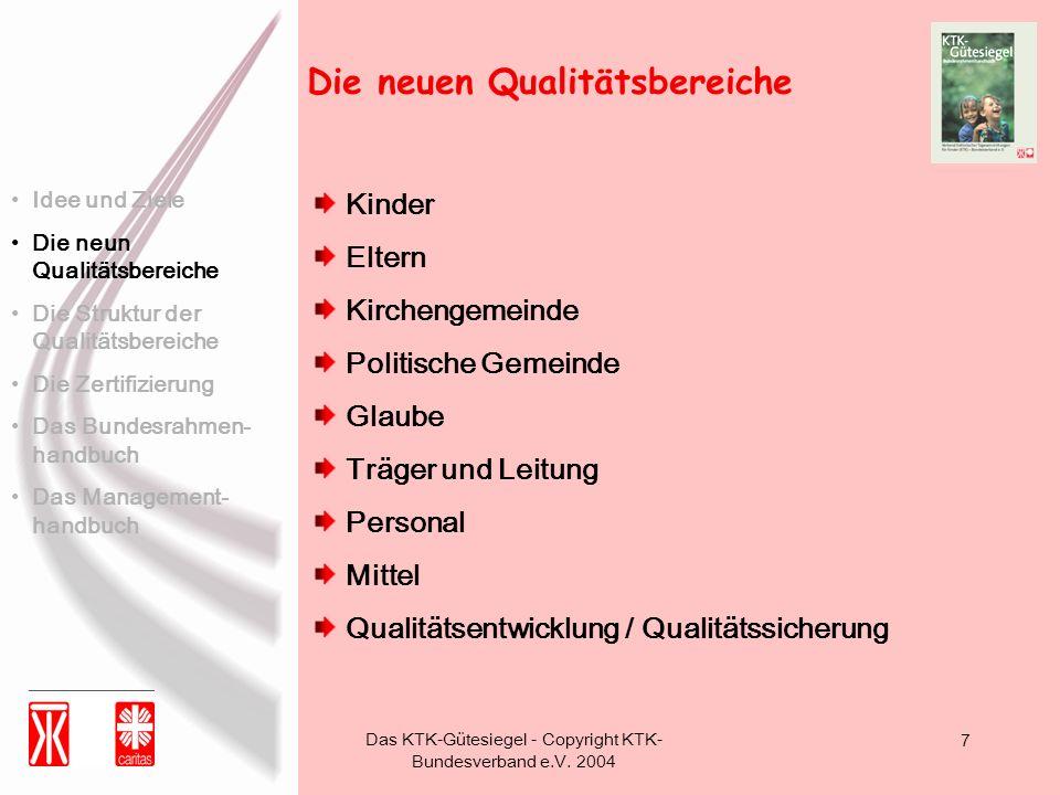 Das KTK-Gütesiegel - Copyright KTK- Bundesverband e.V. 2004 7 Die neuen Qualitätsbereiche Kinder Eltern Kirchengemeinde Politische Gemeinde Glaube Trä
