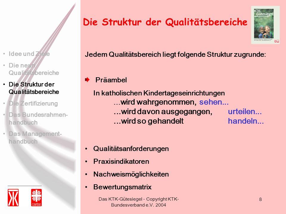 Das KTK-Gütesiegel - Copyright KTK- Bundesverband e.V. 2004 8 Die Struktur der Qualitätsbereiche Jedem Qualitätsbereich liegt folgende Struktur zugrun