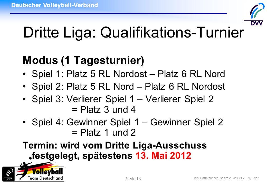 Deutscher Volleyball-Verband DVV Hauptausschuss am 28./29.11.2009, Trier Seite 13 Dritte Liga: Qualifikations-Turnier Modus (1 Tagesturnier) Spiel 1: Platz 5 RL Nordost – Platz 6 RL Nord Spiel 2: Platz 5 RL Nord – Platz 6 RL Nordost Spiel 3: Verlierer Spiel 1 – Verlierer Spiel 2 = Platz 3 und 4 Spiel 4: Gewinner Spiel 1 – Gewinner Spiel 2 = Platz 1 und 2 Termin: wird vom Dritte Liga-Ausschuss festgelegt, spätestens 13.