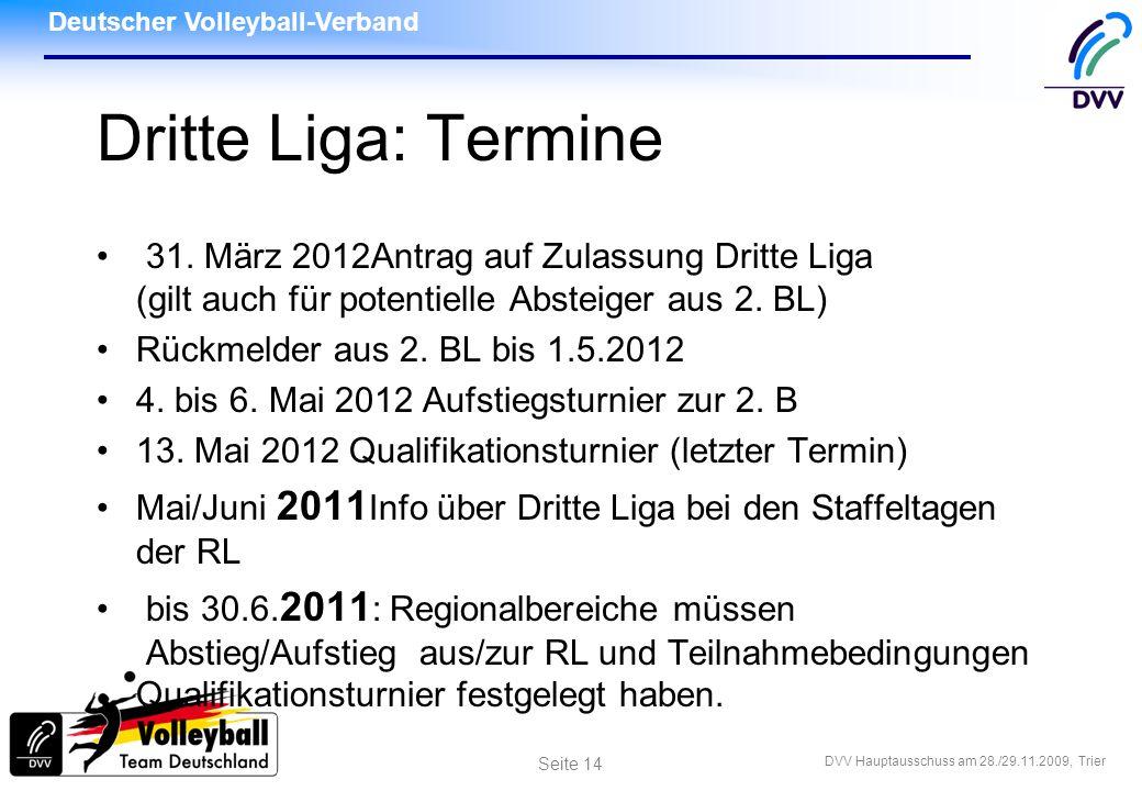 Deutscher Volleyball-Verband DVV Hauptausschuss am 28./29.11.2009, Trier Seite 14 Dritte Liga: Termine 31. März 2012Antrag auf Zulassung Dritte Liga (