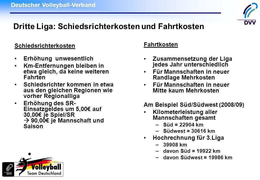 Deutscher Volleyball-Verband Dritte Liga: Schiedsrichterkosten und Fahrtkosten Schiedsrichterkosten Erhöhung unwesentlich Km-Entfernungen bleiben in e