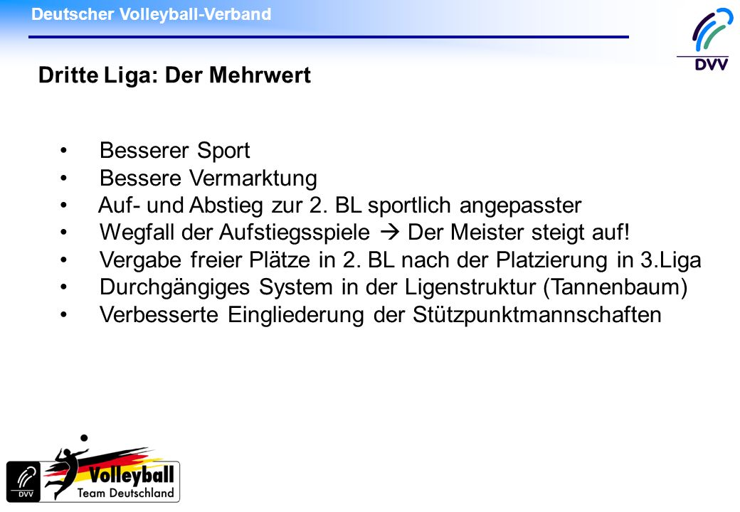 Deutscher Volleyball-Verband Dritte Liga: Der Mehrwert Besserer Sport Bessere Vermarktung Auf- und Abstieg zur 2. BL sportlich angepasster Wegfall der