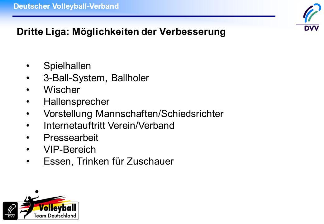 Deutscher Volleyball-Verband Dritte Liga: Möglichkeiten der Verbesserung Spielhallen 3-Ball-System, Ballholer Wischer Hallensprecher Vorstellung Manns