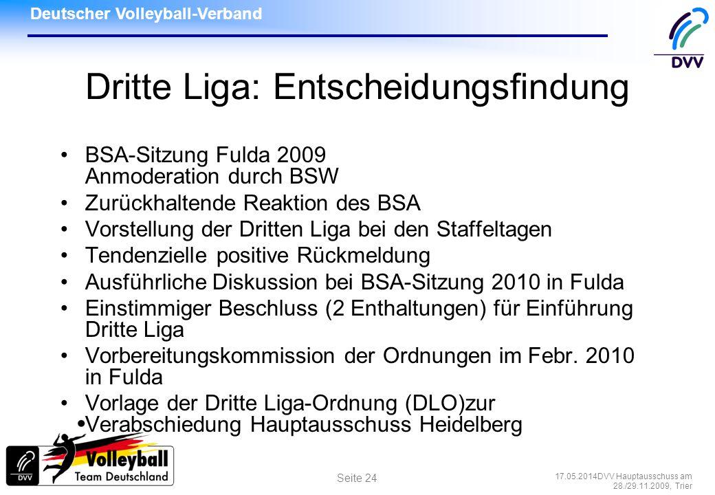 Deutscher Volleyball-Verband 17.05.2014DVV Hauptausschuss am 28./29.11.2009, Trier Seite 24 Dritte Liga: Entscheidungsfindung BSA-Sitzung Fulda 2009 A