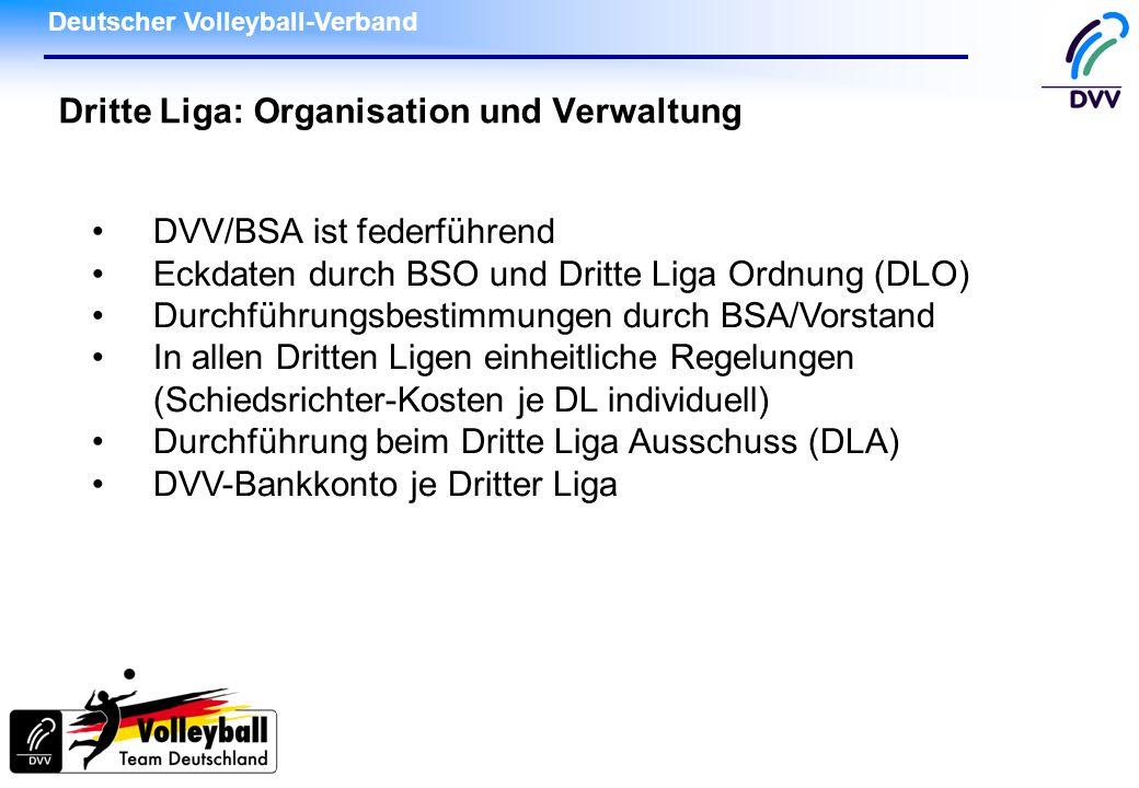 Deutscher Volleyball-Verband Dritte Liga: Organisation und Verwaltung DVV/BSA ist federführend Eckdaten durch BSO und Dritte Liga Ordnung (DLO) Durchf