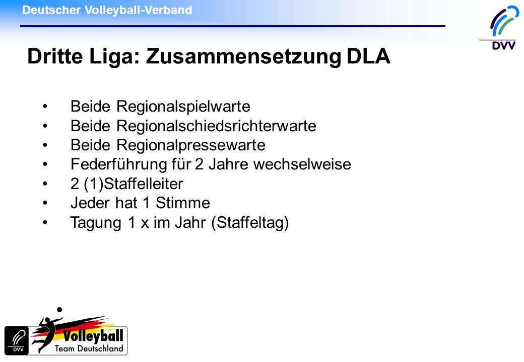 Deutscher Volleyball-Verband Dritte Liga: Zusammensetzung DLA Beide Regionalspielwarte Beide Regionalschiedsrichterwarte Beide Regionalpressewarte Federführung für 2 Jahre wechselweise 2 (1)Staffelleiter Jeder hat 1 Stimme Tagung 1 x im Jahr (Staffeltag)
