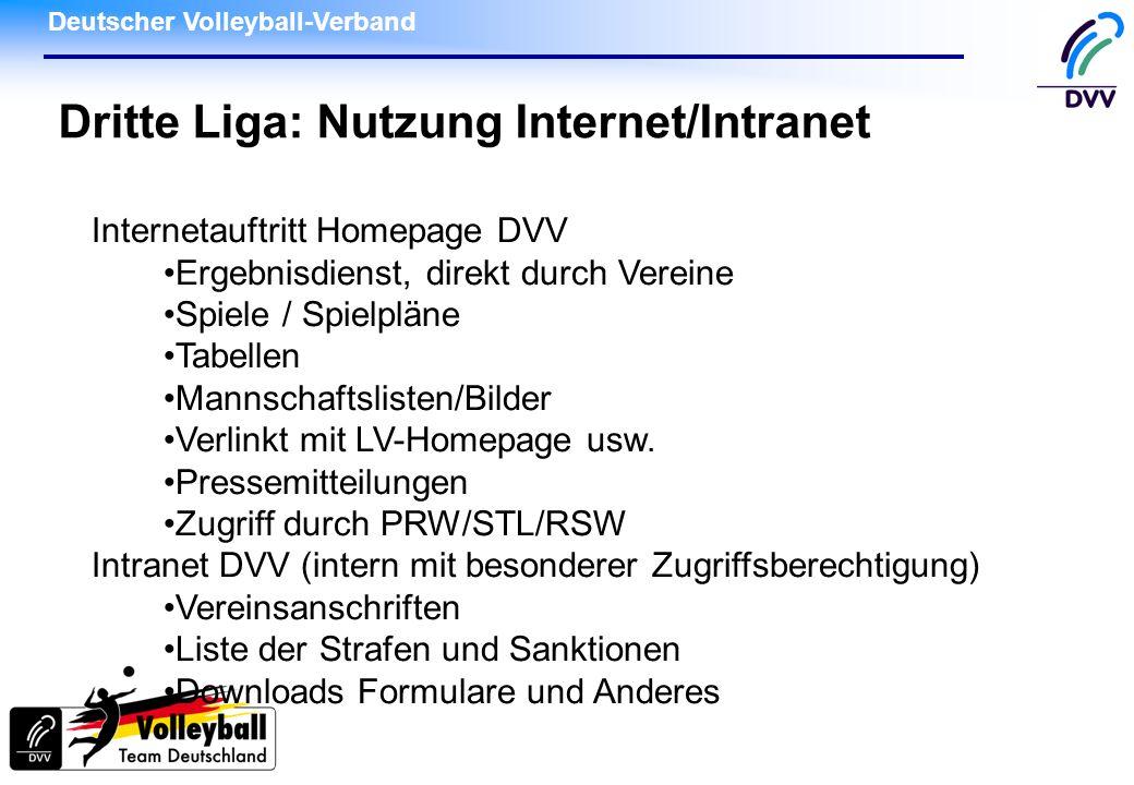 Deutscher Volleyball-Verband Dritte Liga: Nutzung Internet/Intranet Internetauftritt Homepage DVV Ergebnisdienst, direkt durch Vereine Spiele / Spielp