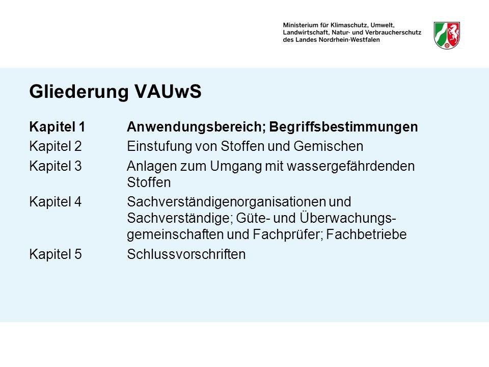Gliederung VAUwS Kapitel 1 Anwendungsbereich; Begriffsbestimmungen Kapitel 2 Einstufung von Stoffen und Gemischen Kapitel 3Anlagen zum Umgang mit wass