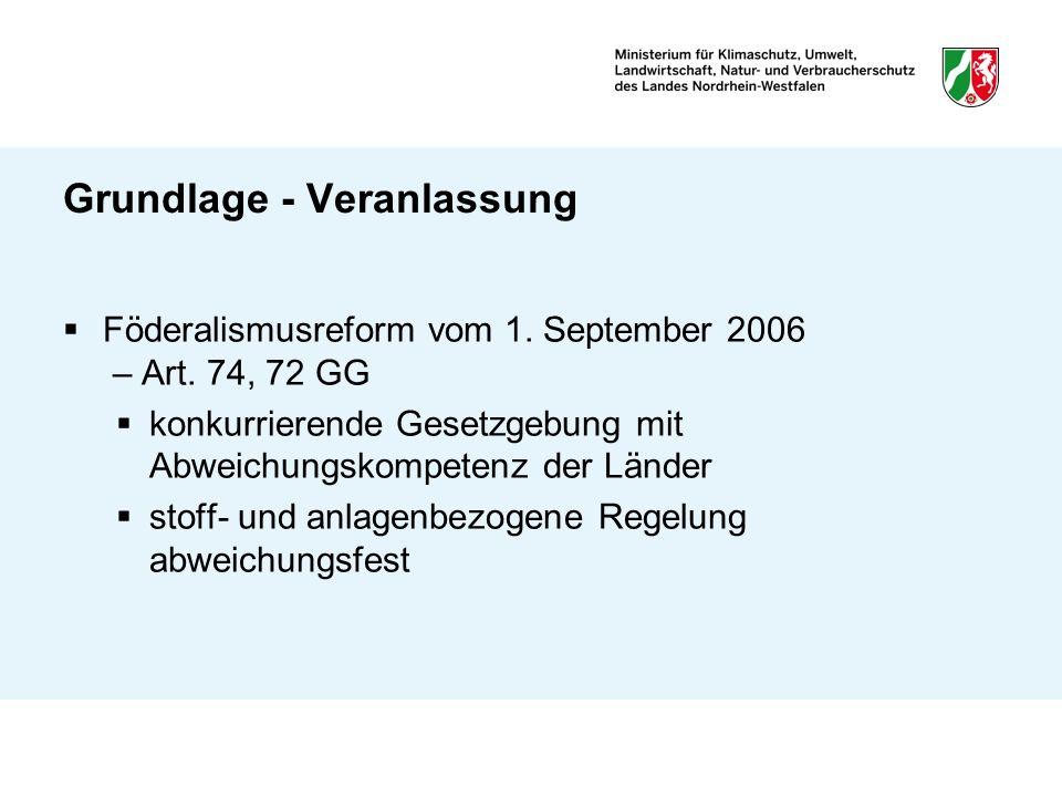 Grundlage - Veranlassung Föderalismusreform vom 1. September 2006 – Art. 74, 72 GG konkurrierende Gesetzgebung mit Abweichungskompetenz der Länder sto