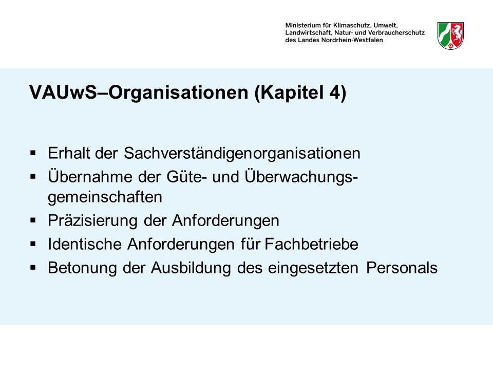 VAUwS–Organisationen (Kapitel 4) Erhalt der Sachverständigenorganisationen Übernahme der Güte- und Überwachungs- gemeinschaften Präzisierung der Anfor