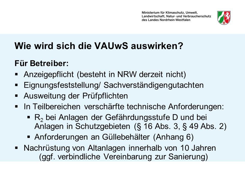 Wie wird sich die VAUwS auswirken? Für Betreiber: Anzeigepflicht (besteht in NRW derzeit nicht) Eignungsfeststellung/ Sachverständigengutachten Auswei