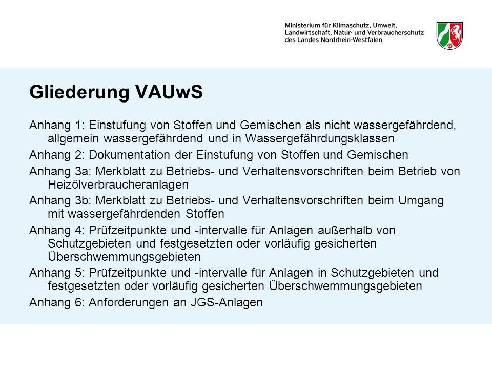 Gliederung VAUwS Anhang 1: Einstufung von Stoffen und Gemischen als nicht wassergefährdend, allgemein wassergefährdend und in Wassergefährdungsklassen