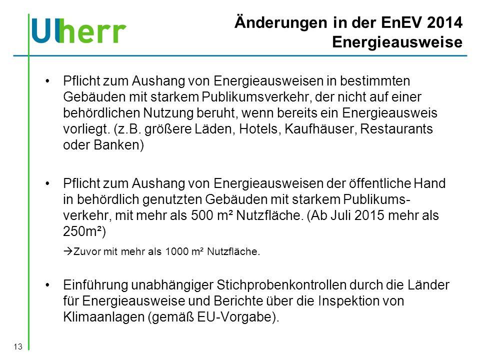 Änderungen in der EnEV 2014 Energieausweise 13 Pflicht zum Aushang von Energieausweisen in bestimmten Gebäuden mit starkem Publikumsverkehr, der nicht auf einer behördlichen Nutzung beruht, wenn bereits ein Energieausweis vorliegt.