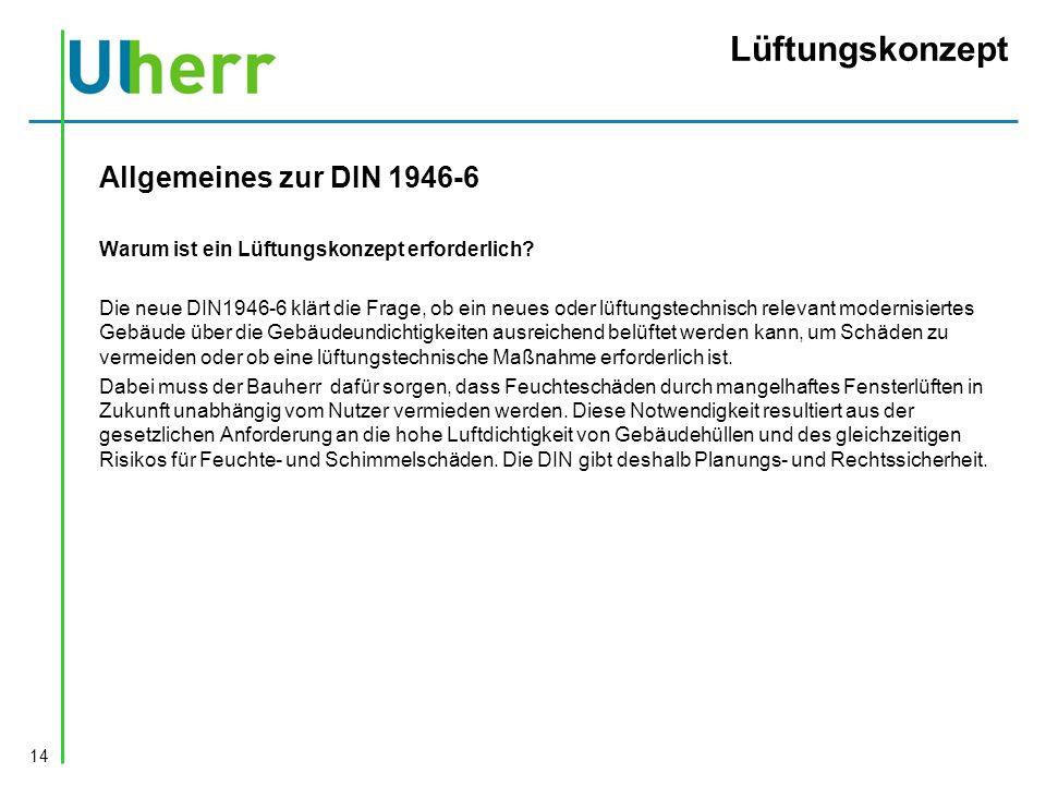 Lüftungskonzept Allgemeines zur DIN 1946-6 Warum ist ein Lüftungskonzept erforderlich.