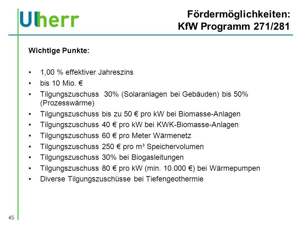 Fördermöglichkeiten: KfW Programm 271/281 Wichtige Punkte: 1,00 % effektiver Jahreszins bis 10 Mio.