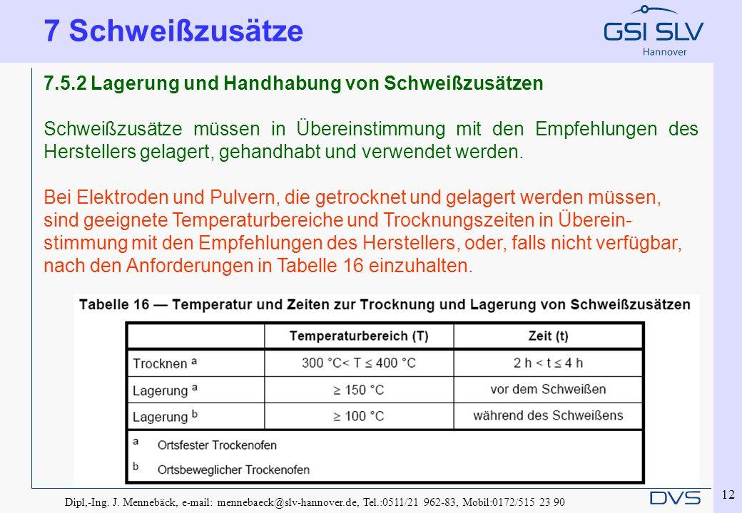 Dipl,-Ing. J. Mennebäck, e-mail: mennebaeck@slv-hannover.de, Tel.:0511/21 962-83, Mobil:0172/515 23 90 12 7.5.2 Lagerung und Handhabung von Schweißzus