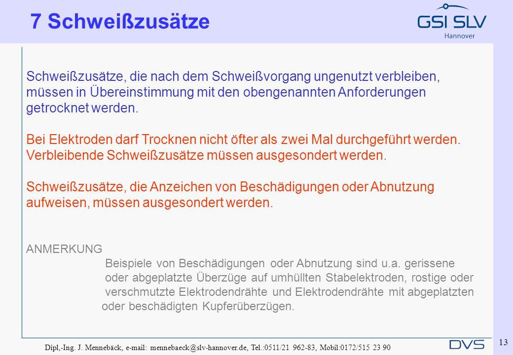 Dipl,-Ing. J. Mennebäck, e-mail: mennebaeck@slv-hannover.de, Tel.:0511/21 962-83, Mobil:0172/515 23 90 13 Schweißzusätze, die nach dem Schweißvorgang