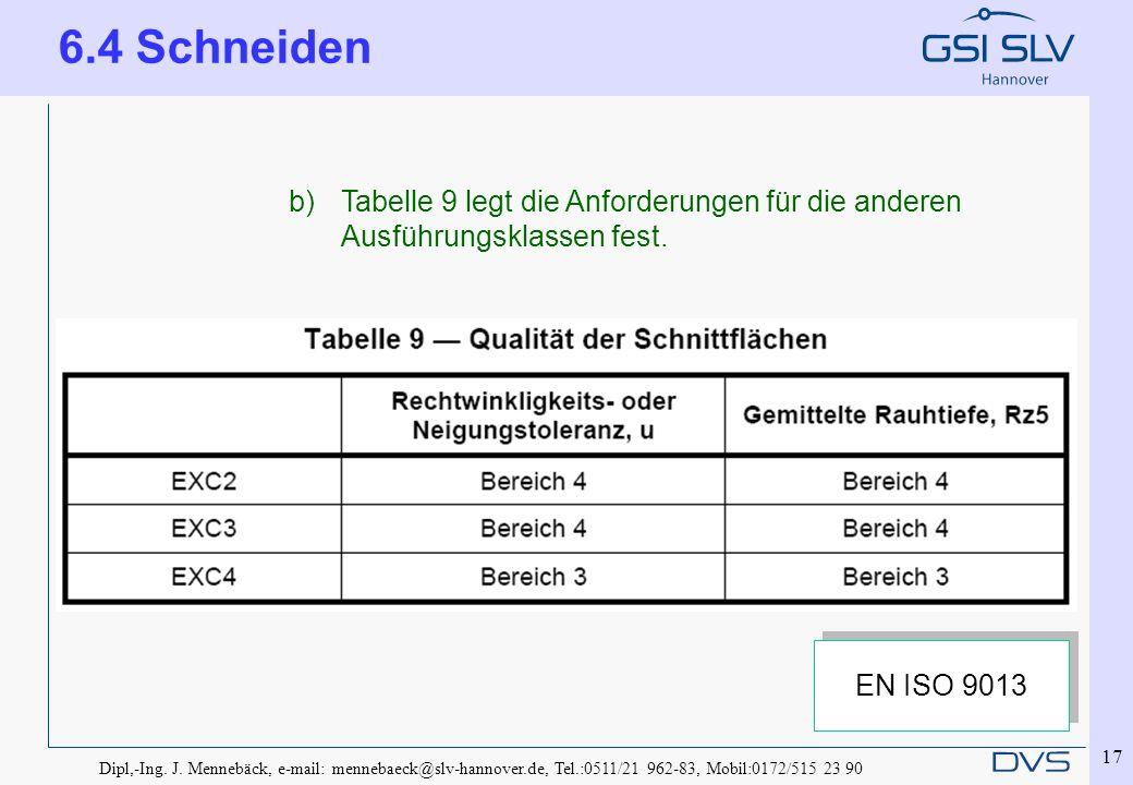 Dipl,-Ing. J. Mennebäck, e-mail: mennebaeck@slv-hannover.de, Tel.:0511/21 962-83, Mobil:0172/515 23 90 17 b)Tabelle 9 legt die Anforderungen für die a
