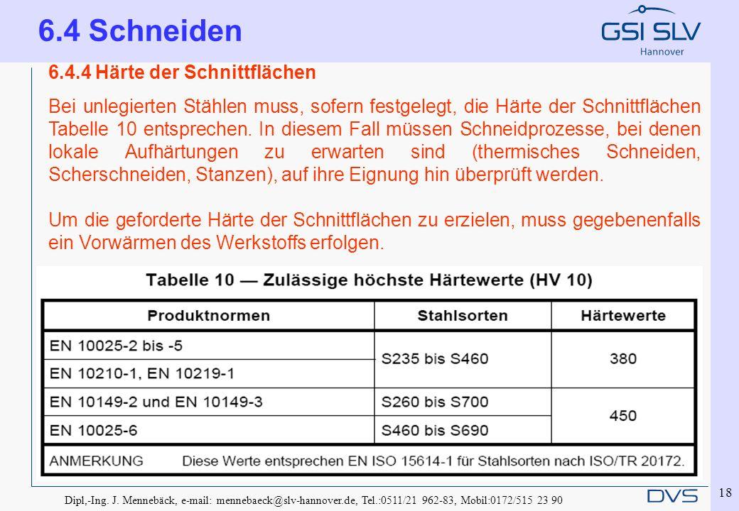 Dipl,-Ing. J. Mennebäck, e-mail: mennebaeck@slv-hannover.de, Tel.:0511/21 962-83, Mobil:0172/515 23 90 18 6.4.4 Härte der Schnittflächen Bei unlegiert