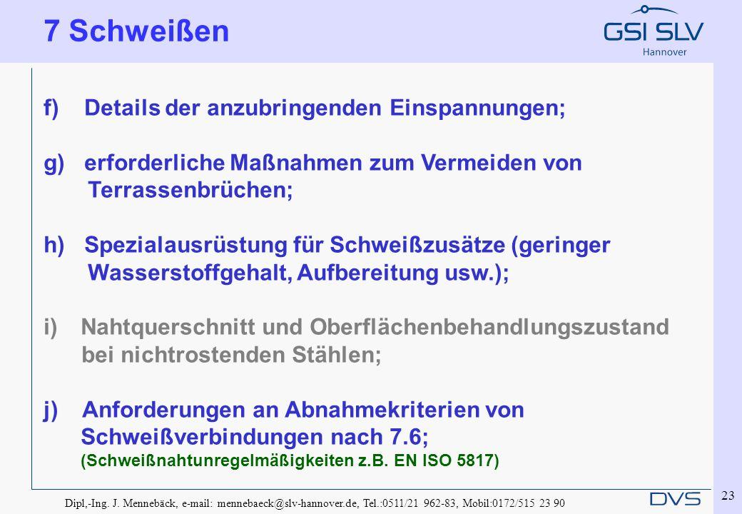 Dipl,-Ing. J. Mennebäck, e-mail: mennebaeck@slv-hannover.de, Tel.:0511/21 962-83, Mobil:0172/515 23 90 23 f) Details der anzubringenden Einspannungen;