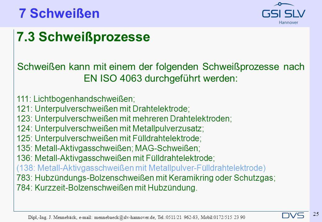 Dipl,-Ing. J. Mennebäck, e-mail: mennebaeck@slv-hannover.de, Tel.:0511/21 962-83, Mobil:0172/515 23 90 25 7.3 Schweißprozesse Schweißen kann mit einem