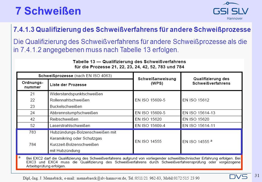 Dipl,-Ing. J. Mennebäck, e-mail: mennebaeck@slv-hannover.de, Tel.:0511/21 962-83, Mobil:0172/515 23 90 31 7.4.1.3 Qualifizierung des Schweißverfahrens