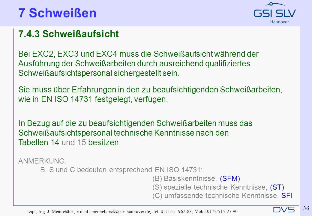 Dipl,-Ing. J. Mennebäck, e-mail: mennebaeck@slv-hannover.de, Tel.:0511/21 962-83, Mobil:0172/515 23 90 36 7.4.3 Schweißaufsicht Bei EXC2, EXC3 und EXC