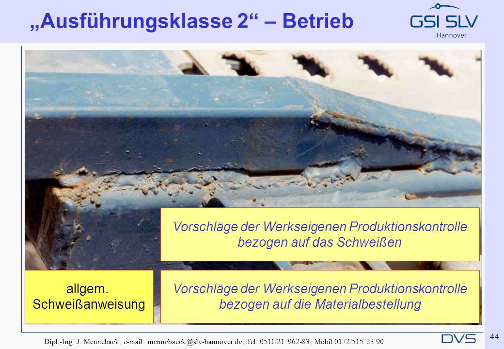 Dipl,-Ing. J. Mennebäck, e-mail: mennebaeck@slv-hannover.de, Tel.:0511/21 962-83, Mobil:0172/515 23 90 44 Ausführungsklasse 2 – Betrieb Vorschläge der