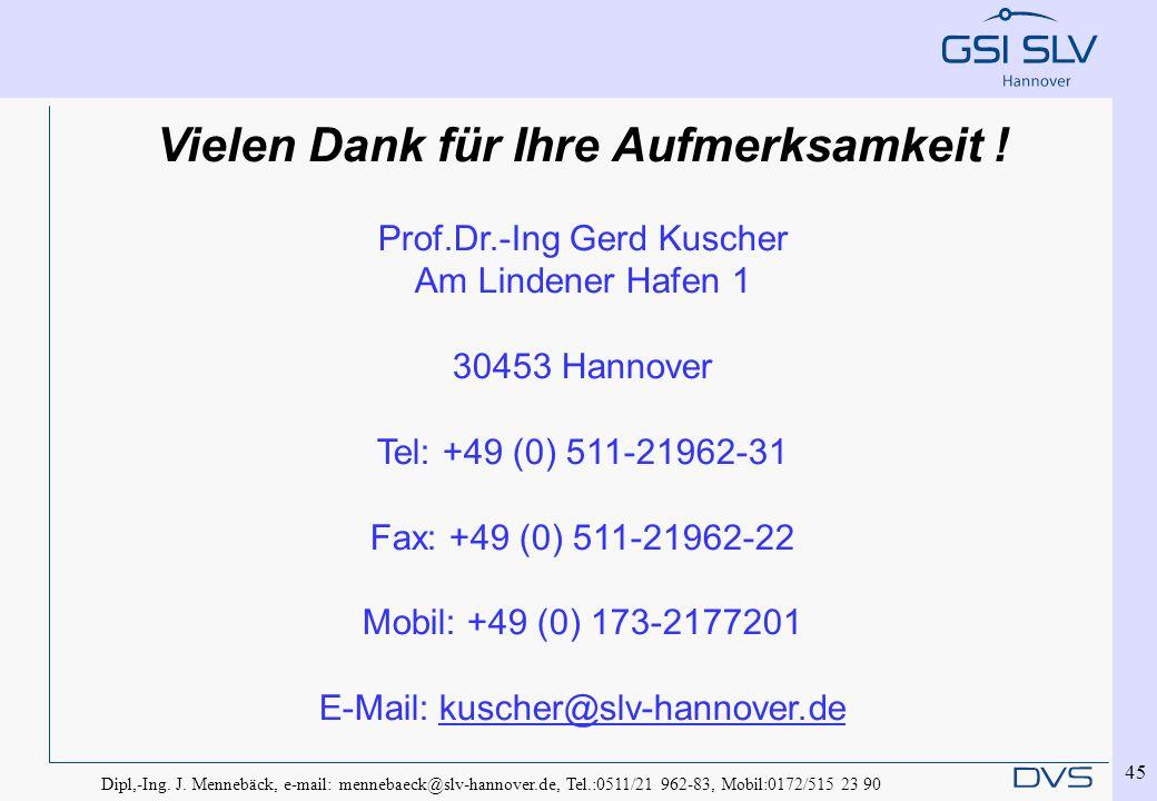 Dipl,-Ing. J. Mennebäck, e-mail: mennebaeck@slv-hannover.de, Tel.:0511/21 962-83, Mobil:0172/515 23 90 45 Vielen Dank für Ihre Aufmerksamkeit ! Prof.D