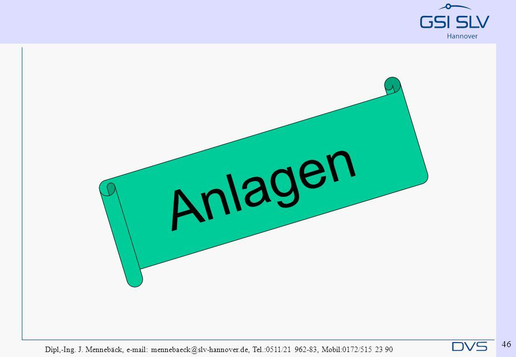 Dipl,-Ing. J. Mennebäck, e-mail: mennebaeck@slv-hannover.de, Tel.:0511/21 962-83, Mobil:0172/515 23 90 46 Anlagen