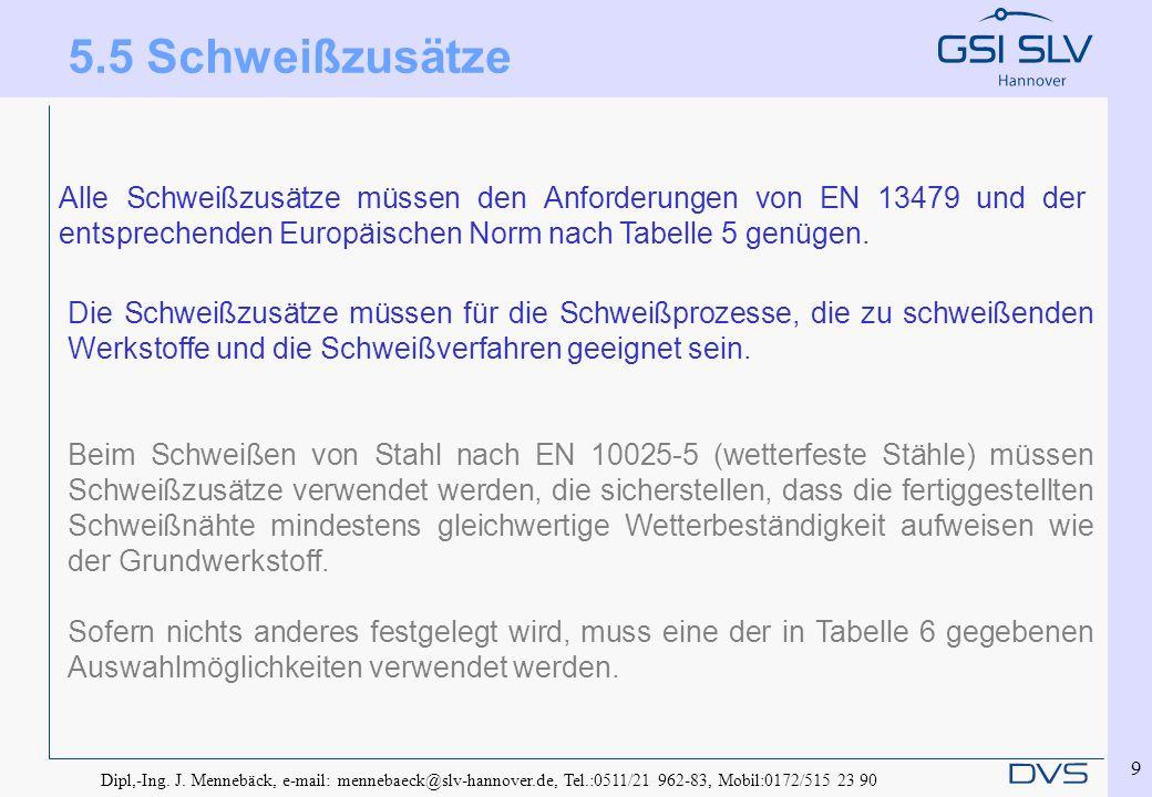 Dipl,-Ing. J. Mennebäck, e-mail: mennebaeck@slv-hannover.de, Tel.:0511/21 962-83, Mobil:0172/515 23 90 9 Alle Schweißzusätze müssen den Anforderungen