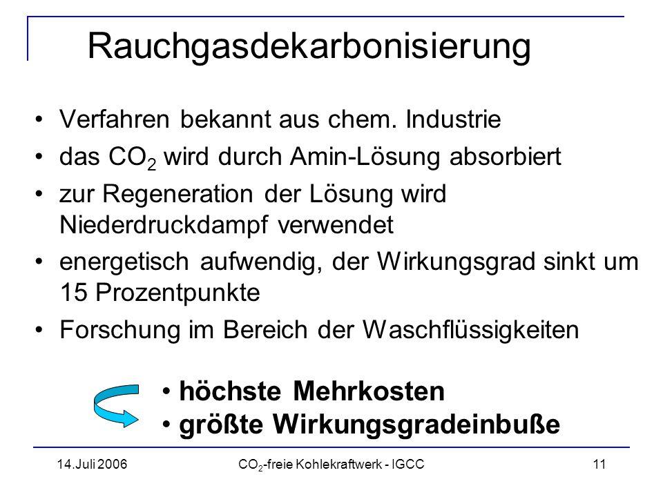 14.Juli 2006CO 2 -freie Kohlekraftwerk - IGCC12 Rauchgasdekarbonisierung Quelle: VGB