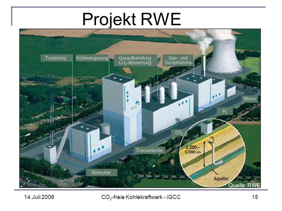 14.Juli 2006CO 2 -freie Kohlekraftwerk - IGCC16 Projekt RWE